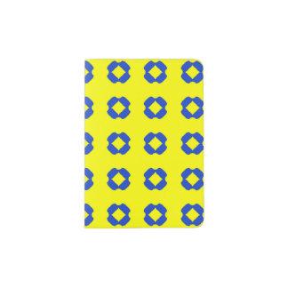 Heller gelber und blauer Pass-Halter Passhülle