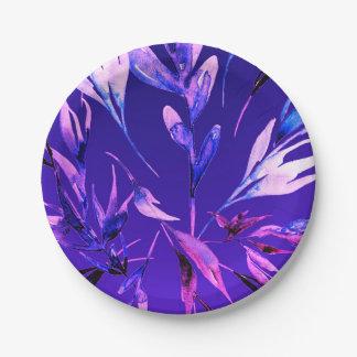 Heller lila mutiger Farbwatercolor-botanischer Pappteller