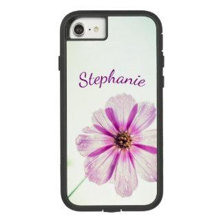 Heller lila, rosa Blumen-Hintergrund mit Namen Case-Mate Tough Extreme iPhone 8/7 Hülle