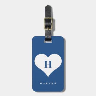 Heller, moderner Herzmonogramm-Gepäckanhänger Kofferanhängern