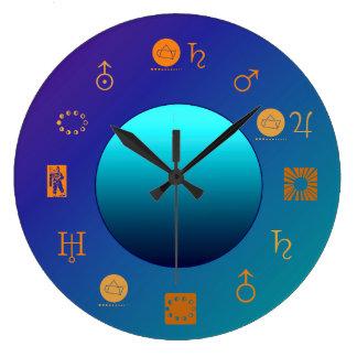 Heller Mond mit Astro Signs> Astrologie-Uhr Große Wanduhr