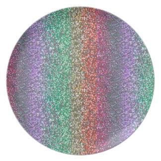 Heller Regenbogen-funkelndes Glitzer-Pixel Melaminteller