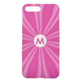 Heller rosa Sonnendurchbruch mit Initiale iPhone 8 Plus/7 Plus Hülle