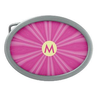 Heller rosa Sonnendurchbruch oder Blume mit Ovale Gürtelschnalle
