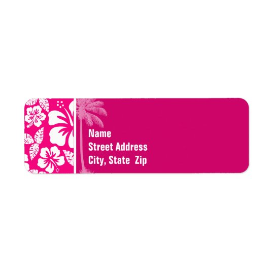 Heller rosa tropischer Hibiskus Rücksendeetikett