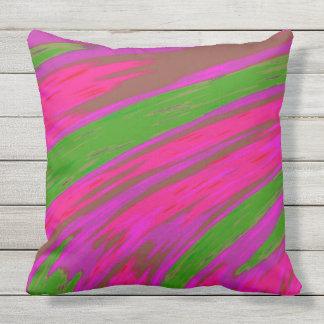 Heller rosa und grüne Farbabstrakter Entwurf Kissen Für Draußen