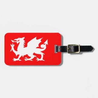 Heller roter und weißer Waliser-Drache Gepäckanhänger