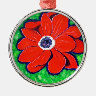 Heller roter Windflower Silbernes Ornament