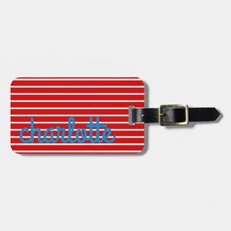 heller Sommer rot und Blau mit weißen Streifen Gepäckanhänger