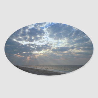 Heller Strand-Morgen - Eichen-Insel, NC Ovaler Aufkleber