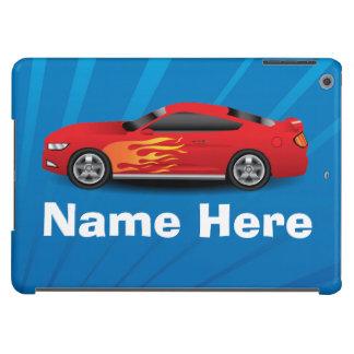 Helles Blau mit rotem Sport-Auto flammt