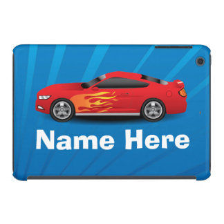 Helles Blau mit rotem Sport-Auto flammt iPad Mini Retina Cover