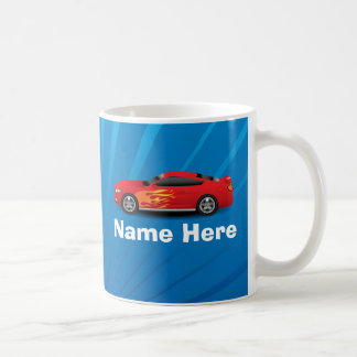 Helles Blau mit rotem Sport-Auto flammt Tasse