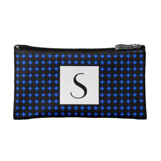 Helles blaues Kreis-Muster-Grenzmonogramm Makeup-Tasche