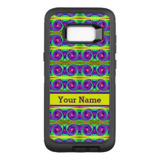 Helles buntes gelbes lila Lockenmuster OtterBox Defender Samsung Galaxy S8+ Hülle