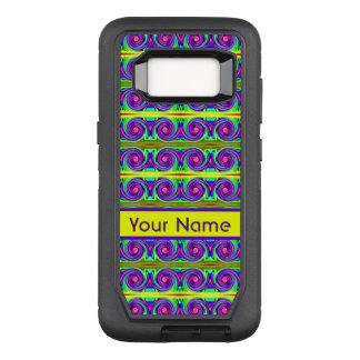 Helles buntes gelbes lila Lockenmuster OtterBox Defender Samsung Galaxy S8 Hülle
