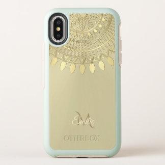 Helles Gold halb ringsum Mandala-Monogramm OtterBox Symmetry iPhone X Hülle