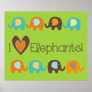 Helles Liebe-Elefant-Kinderzimmer-Plakat der Poster