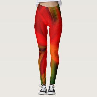 Helles orange und grünes abstraktes leggings