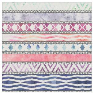 Helles PastellAquarell-Stammes- aztekisches Muster Stoff