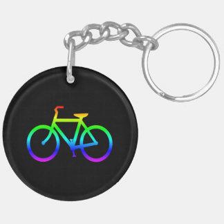 Helles Regenbogen-Fahrrad Beidseitiger Runder Acryl Schlüsselanhänger