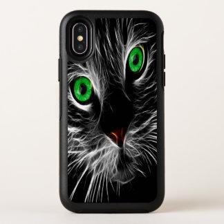 Hellgrüne Augenkatze mit einer elektrischen Ladung OtterBox Symmetry iPhone X Hülle