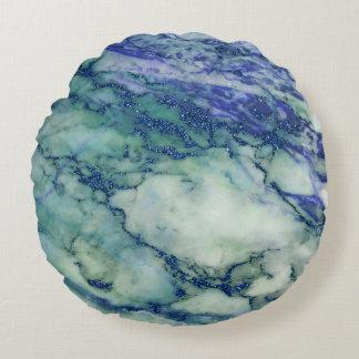 Hellgrüne blaue Marmorbeschaffenheit Rundes Kissen