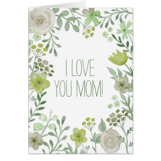 Hellgrüne botanische Liebe der Blumen I Sie Mamma Karte
