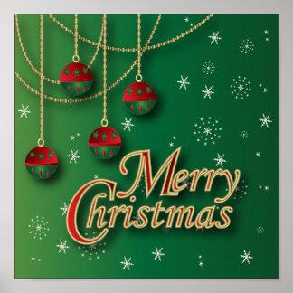 Hellgrüne frohe Weihnachten Poster