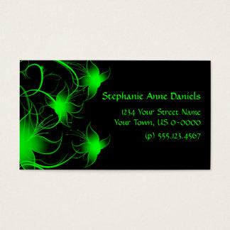 Hellgrüne Wirble Blumen auf schwarzer Visitenkarten