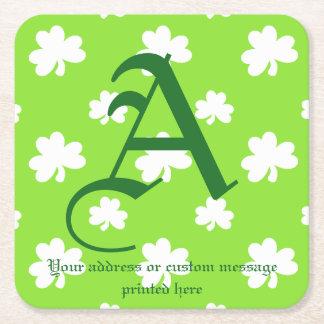 Hellgrünen und weißen Kleeblatt-St Patrick Tag Kartonuntersetzer Quadrat