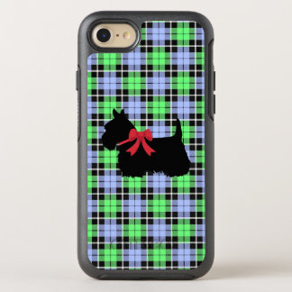 Hellgrünes/Babyblau karierter schottischer Terrier OtterBox Symmetry iPhone 8/7 Hülle
