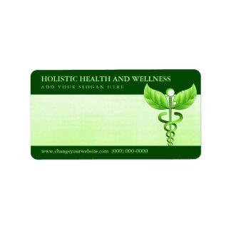 Hellgrünes Caduceus-Alternativmedizin-Symbol Adressaufkleber