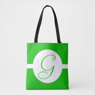 Hellgrünes Kreis-Monogramm Tasche