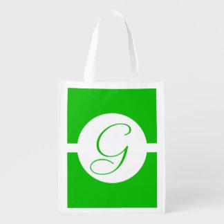 Hellgrünes Kreis-Monogramm Wiederverwendbare Einkaufstasche