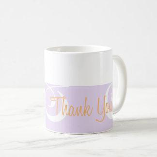 Hellpurpurnes dekoratives Band danken Ihnen Tasse