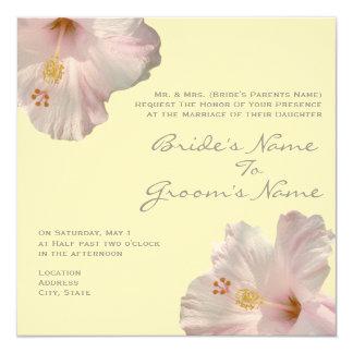 Hellrosa Hibiskus-Hochzeits-Einladung Quadratische 13,3 Cm Einladungskarte