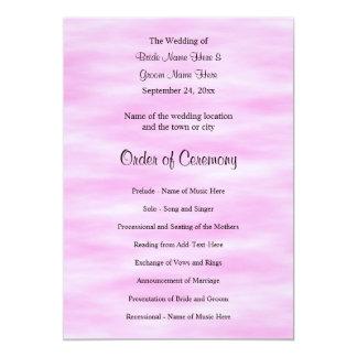 Hellrosa Muster-Hochzeits-Programm-Entwurf 12,7 X 17,8 Cm Einladungskarte