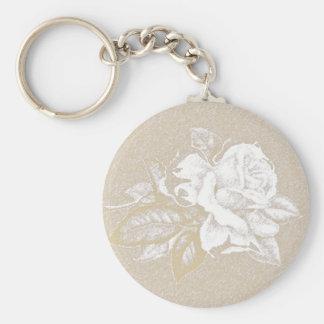 Hellrosa Vintage Rose in den Sepiatönen Schlüsselanhänger