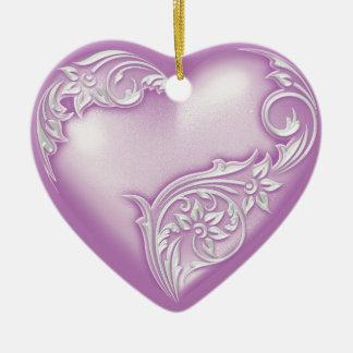 Hellviolettes w Weiß der Herz-Rolle- Keramik Herz-Ornament