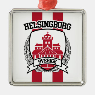 Helsingborg Quadratisches Silberfarbenes Ornament