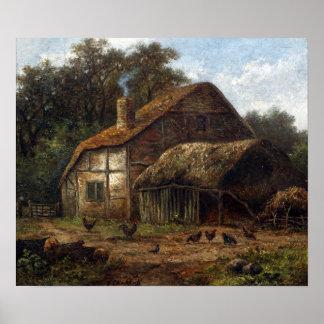 Hendrik Pieter Koekkoek Thatched Scheune mit Huhn Poster