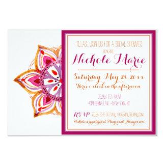 Hennastrauch-Blumen-Brautparty-Einladung Fuschia Karte