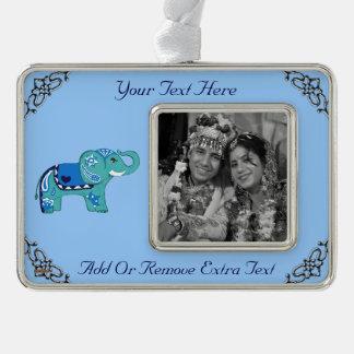 Hennastrauch-Elefant (blau/hellblau) Rahmen-Ornament Silber