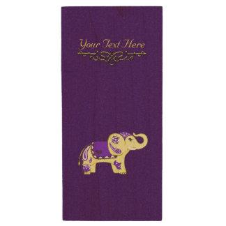 Hennastrauch-Elefant (Gelb/Lila) Holz USB Stick