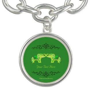 Hennastrauch-Elefant (Grün/Limones Grün) Charm Armband