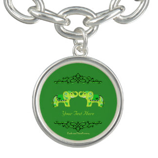 Hennastrauch-Elefant (Grün/Limones Grün) Charm Armbänder