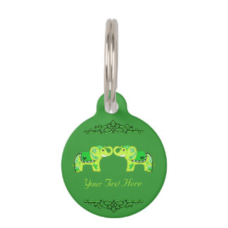 Hennastrauch-Elefant (Grün/Limones Grün) Haustiermarke