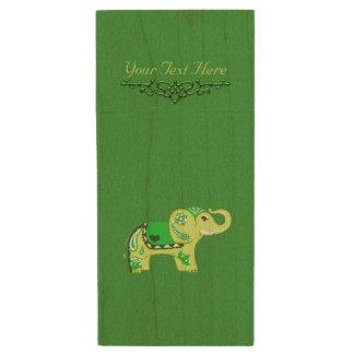 Hennastrauch-Elefant (Grün/Limones Grün) Holz USB Stick