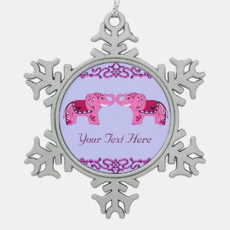 Hennastrauch-Elefant (Rosa/Lila) Schneeflocken Zinn-Ornament